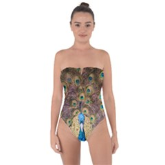 Bird Peacock Feather Tie Back One Piece Swimsuit