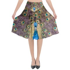 Bird Peacock Feather Flared Midi Skirt by HermanTelo