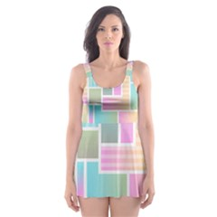 Color Blocks Abstract Background Skater Dress Swimsuit by HermanTelo