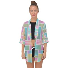 Color Blocks Abstract Background Open Front Chiffon Kimono