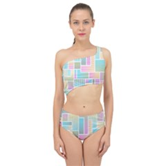 Color Blocks Abstract Background Spliced Up Two Piece Swimsuit by HermanTelo