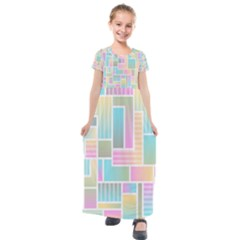 Color Blocks Abstract Background Kids  Short Sleeve Maxi Dress by HermanTelo