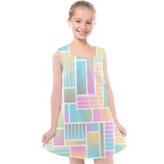 Color Blocks Abstract Background Kids  Cross Back Dress by HermanTelo