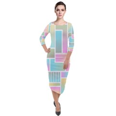 Color Blocks Abstract Background Quarter Sleeve Midi Velour Bodycon Dress by HermanTelo