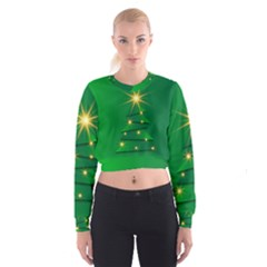 Christmas Tree Green Cropped Sweatshirt by HermanTelo