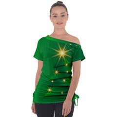 Christmas Tree Green Tie Up Tee by HermanTelo