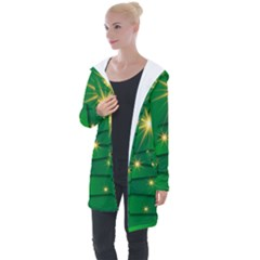 Christmas Tree Green Longline Hooded Cardigan