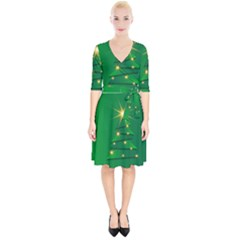 Christmas Tree Green Wrap Up Cocktail Dress