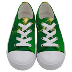Christmas Tree Green Kids  Low Top Canvas Sneakers