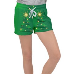 Christmas Tree Green Women s Velour Lounge Shorts by HermanTelo