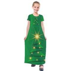 Christmas Tree Green Kids  Short Sleeve Maxi Dress by HermanTelo