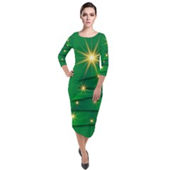 Christmas Tree Green Quarter Sleeve Midi Velour Bodycon Dress by HermanTelo