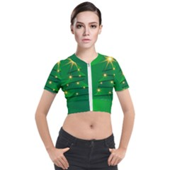 Christmas Tree Green Short Sleeve Cropped Jacket by HermanTelo