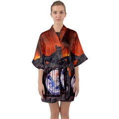 Earth Day Quarter Sleeve Kimono Robe by HermanTelo