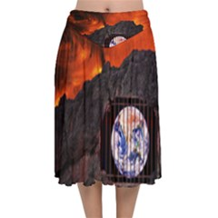 Earth Day Velvet Flared Midi Skirt by HermanTelo