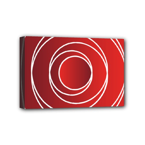 Circles Red Mini Canvas 6  X 4  (stretched)