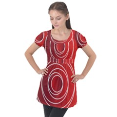 Circles Red Puff Sleeve Tunic Top