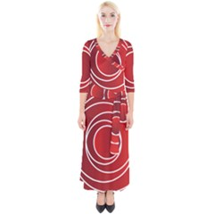 Circles Red Quarter Sleeve Wrap Maxi Dress by HermanTelo