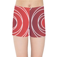 Circles Red Kids  Sports Shorts by HermanTelo