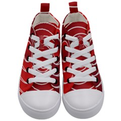Circles Red Kids  Mid Top Canvas Sneakers