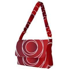 Circles Red Full Print Messenger Bag