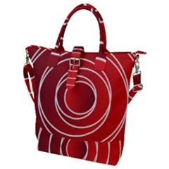 Circles Red Buckle Top Tote Bag