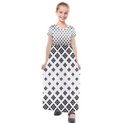 Concentric Plaid Kids  Short Sleeve Maxi Dress