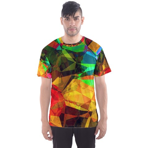 Color Abstract Polygon Men s Sports Mesh Tee by HermanTelo