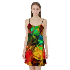Color Abstract Polygon Satin Night Slip by HermanTelo