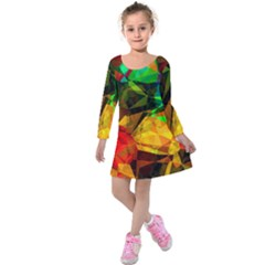 Color Abstract Polygon Kids  Long Sleeve Velvet Dress by HermanTelo