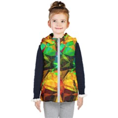 Color Abstract Polygon Kids  Hooded Puffer Vest