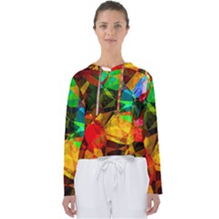 Color Abstract Polygon Women s Slouchy Sweat by HermanTelo