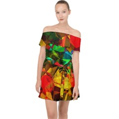 Color Abstract Polygon Off Shoulder Chiffon Dress