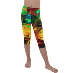 Color Abstract Polygon Kids  Lightweight Velour Capri Leggings