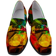 Color Abstract Polygon Women s Chunky Heel Loafers by HermanTelo