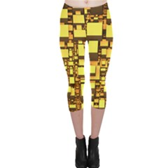 Cubes Grid Geometric 3d Square Capri Leggings  by HermanTelo