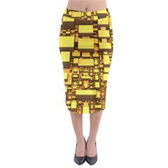 Cubes Grid Geometric 3d Square Midi Pencil Skirt