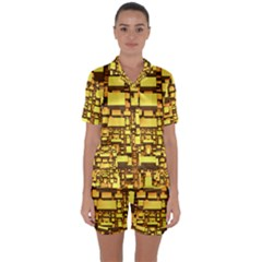Cubes Grid Geometric 3d Square Satin Short Sleeve Pyjamas Set by HermanTelo