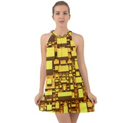 Cubes Grid Geometric 3d Square Halter Tie Back Chiffon Dress by HermanTelo