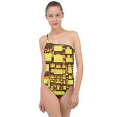 Cubes Grid Geometric 3d Square Classic One Shoulder Swimsuit by HermanTelo