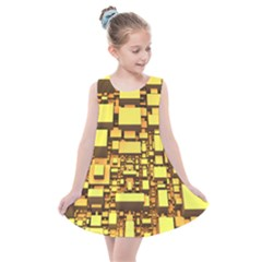 Cubes Grid Geometric 3d Square Kids  Summer Dress by HermanTelo
