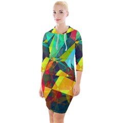 Color Abstract Polygon Background Quarter Sleeve Hood Bodycon Dress