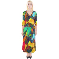 Color Abstract Polygon Background Quarter Sleeve Wrap Maxi Dress by HermanTelo