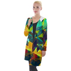 Color Abstract Polygon Background Hooded Pocket Cardigan