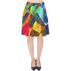 Color Abstract Polygon Background Velvet High Waist Skirt by HermanTelo