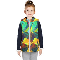 Color Abstract Polygon Background Kids  Hooded Puffer Vest