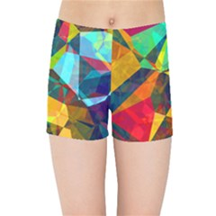 Color Abstract Polygon Background Kids  Sports Shorts by HermanTelo