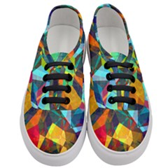 Color Abstract Polygon Background Women s Classic Low Top Sneakers