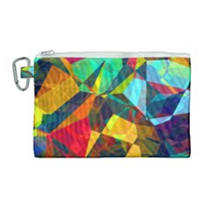 Color Abstract Polygon Background Canvas Cosmetic Bag (large)