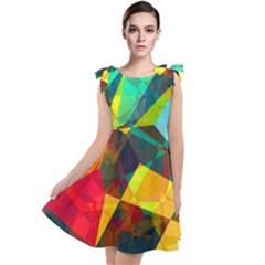 Color Abstract Polygon Background Tie Up Tunic Dress by HermanTelo
